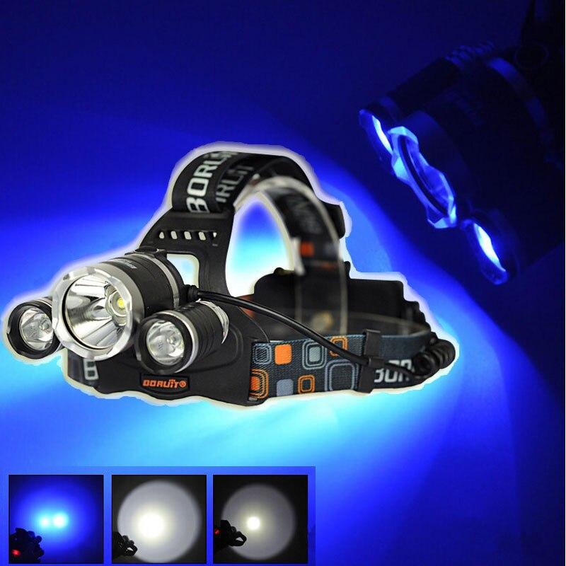 BORUIT RJ-3000 1xCREE XML T6+2xCREE R2 Blue Light 3-Mode USB Rechargeable LED Headlamp (2x18650)