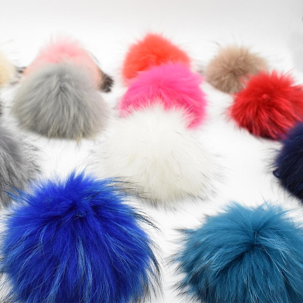 100 Genuine 22cm Real Big Raccoon Fur Ball Pompoms For Winter Women Accessories Beanie Hat Cap