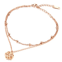 Double Layer Stainless Steel Anklets Rose Gold Plated Unique Camellia Women Link Chain New Fashion Jewelry Bracelet Vintage