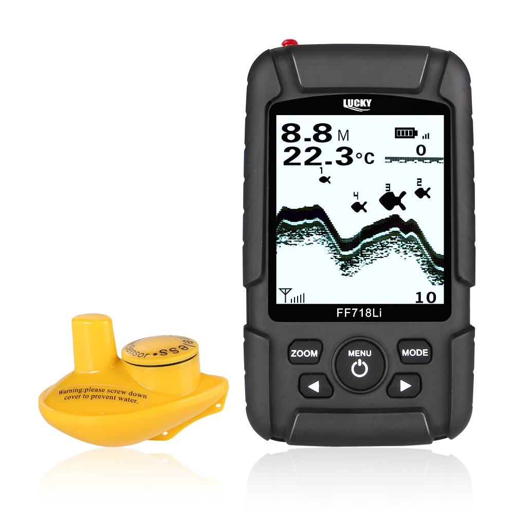 LUCKY FF718Li-W Fish Finder Monitor Wireless Sonar Fishfinder Fish Detector180m LCD LED Back Lighting Echo Sounder De PescaLUCKY FF718Li-W Fish Finder Monitor Wireless Sonar Fishfinder Fish Detector180m LCD LED Back Lighting Echo Sounder De Pesca