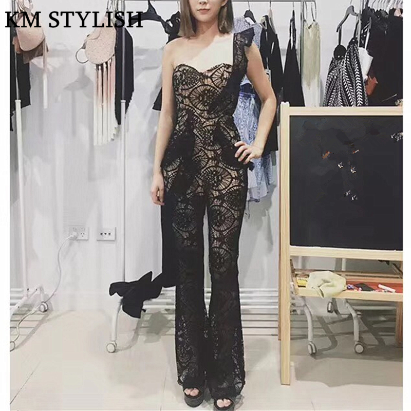 Celebrity Sexy Water-soluble Lace Tube Top Jumpsuit Trousers Ruffles Sleeve Halter Strapless Jumpsuit Black & White Color chic women s strapless black jumpsuit