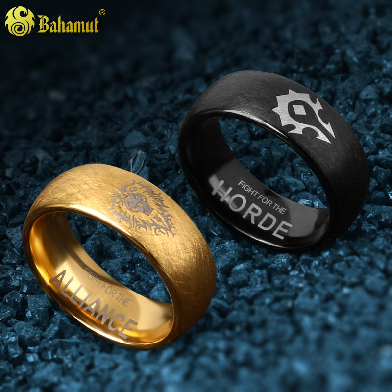 Warcraft Horde And Alliance Tungsten Ring Male Black Gold Men Gift