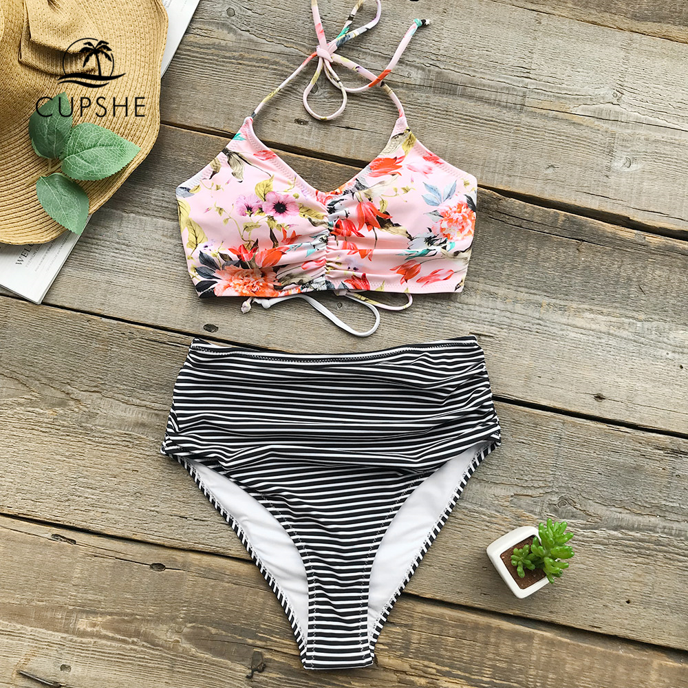 CUPSHE Flower Print Tank Bikini Set Women Lace up High Waisted Striped Two Piece Swimwear 2018 Beach New Shirring Bath Swimsuits high waisted gray lace up womens skirts