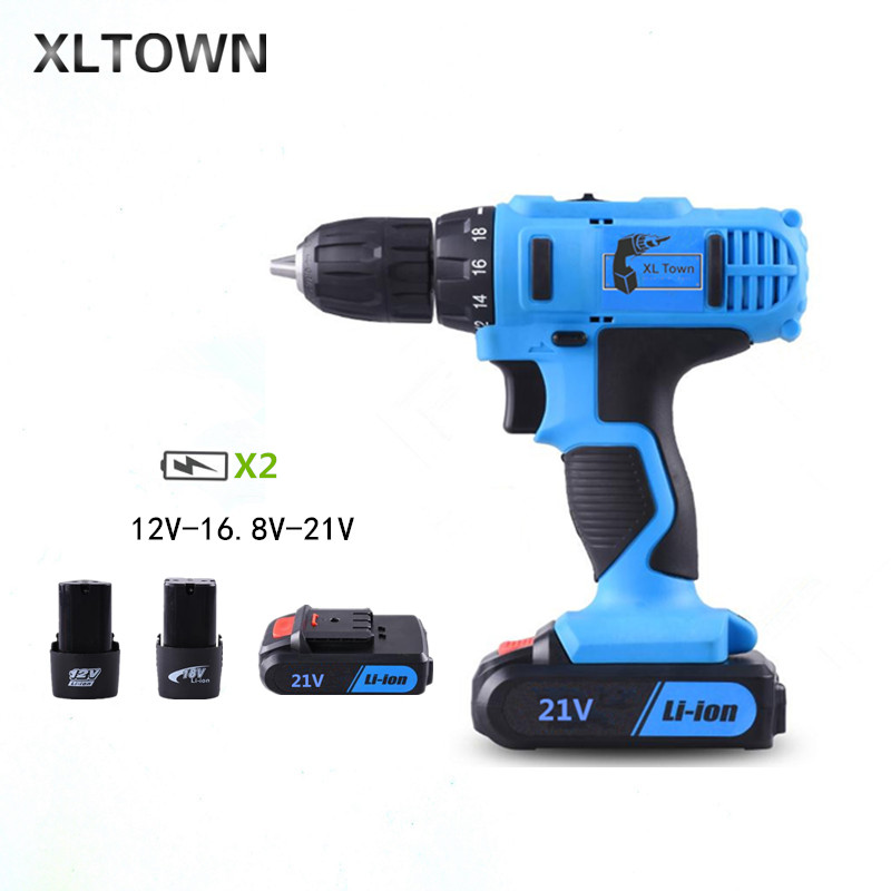 XLTOWN 12/16.8/21v Multifunction Electric Screwdriver with 2 battery Rechargeable Lithium Battery Electric Screwdriver Tools xltown new 21v rechargeable lithium battery electric screwdriver with 2 battery high quality electric drill tools free shipping