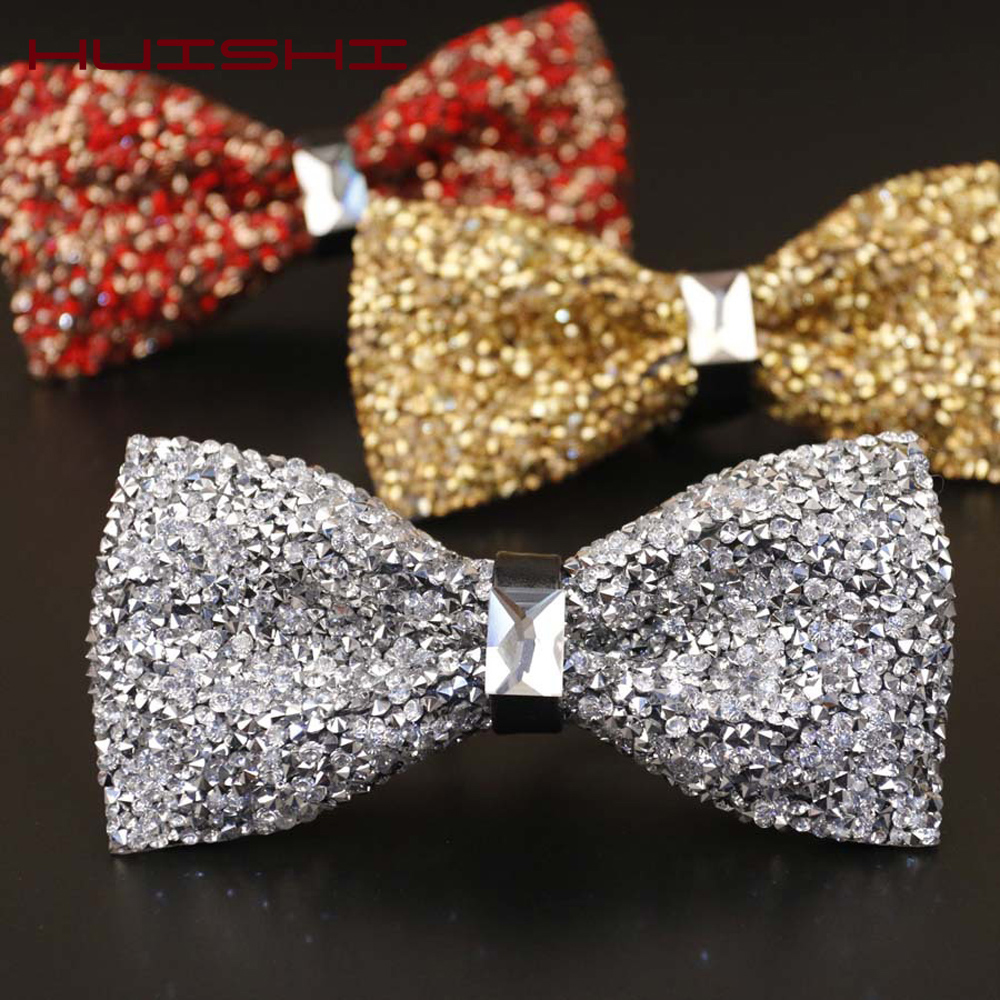 HUISHI Luxury Diamond Black Color Bow Tie For Men Bowtie Rhinestone Collar Tie Crystal Chaton Super Cool Diamond Wedding Bow Tie