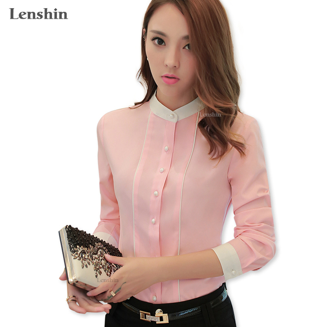 99b21f8a Lenshin Contrast Collar Slim Female Pink Shirt Women Wear Style Office Lady  Tops Blouse