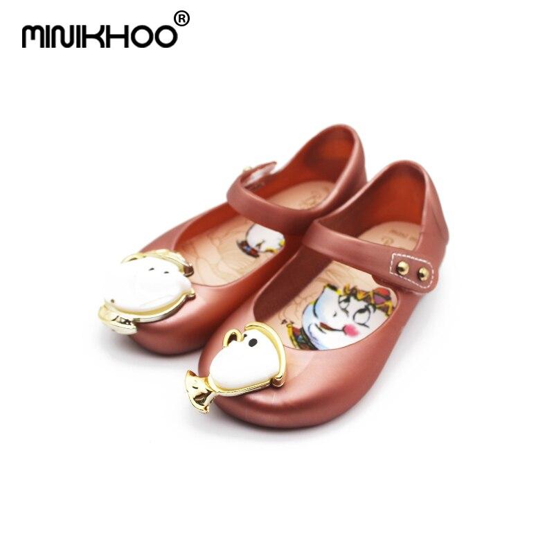 Mini Melissa Tea Cup Sandals 2018 New Winter Kids Sandals Beauty Beast Girls Shoe Jelly Sandals Non-slip Melissa Kid Shoes