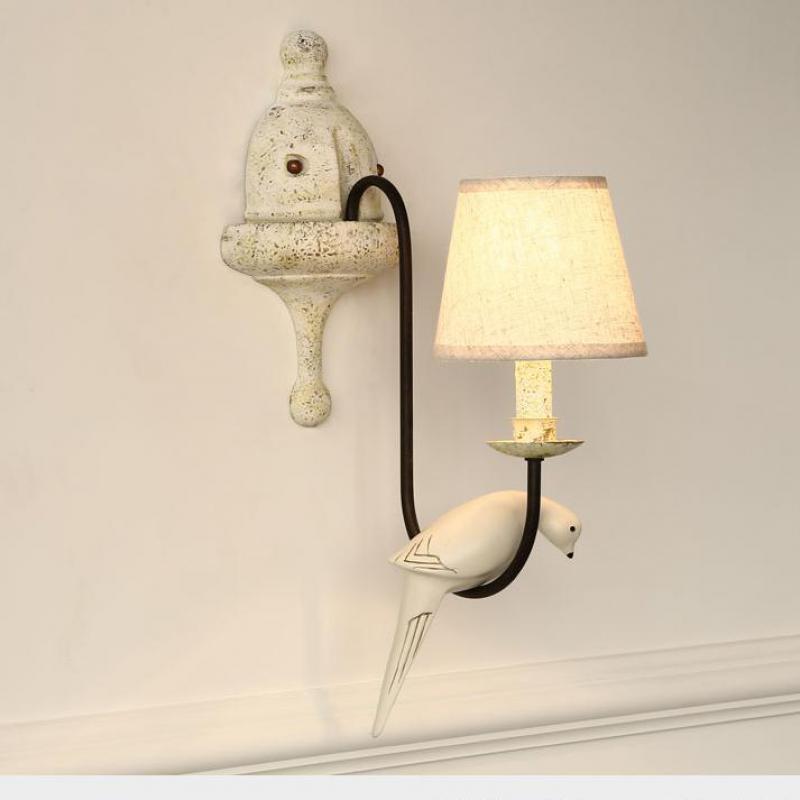 Кафе смолы птица деревенский металл бра Abajur льняной ткани крышка пастырской lemparas LED E14 Винтаж столовая прикроватной тумбочке лампа