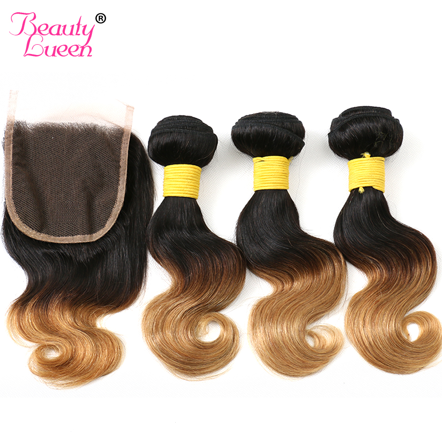 Ombre Body Wave Short Bob 3 Bundles With Closure Blonde Peruvian Human Hair Weave Bundles With