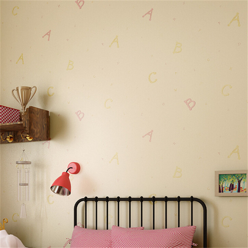 3d letter wallpaper cute girls room wallpaper roll for kids room pink wallpaper non woven wallpaper papel de parede wall mural