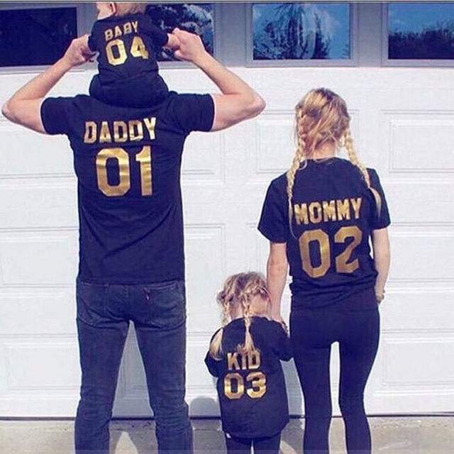 2019 New Arrival Girl Boy Mom Family Look Summer Fashion Dad Mum Baby T-shirts Outerwear Number Printed Family Matching Outfits