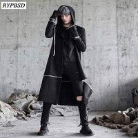 Street Fashion Hiphop Jacket Men Trench Coat Long Cardigan Men Women Loose Casual Zipper Hooded Black Windbreaker Jacket