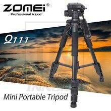 Zomei mini tripé portátil q111, novo mini tripé de liga de alumínio para câmera dslr, suporte profissional compacto e leve para viagem
