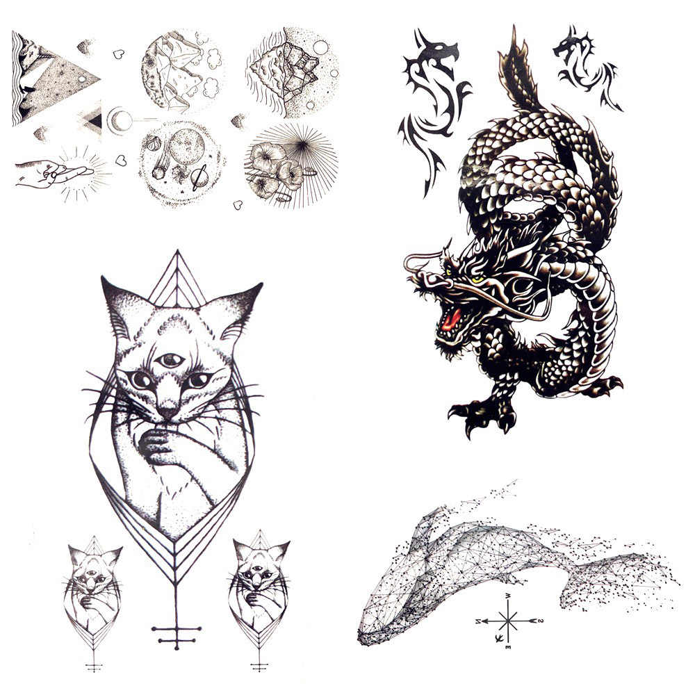 1 шт рев дракона с геометрическим рисунком кота водонепроницаемый татуировки
