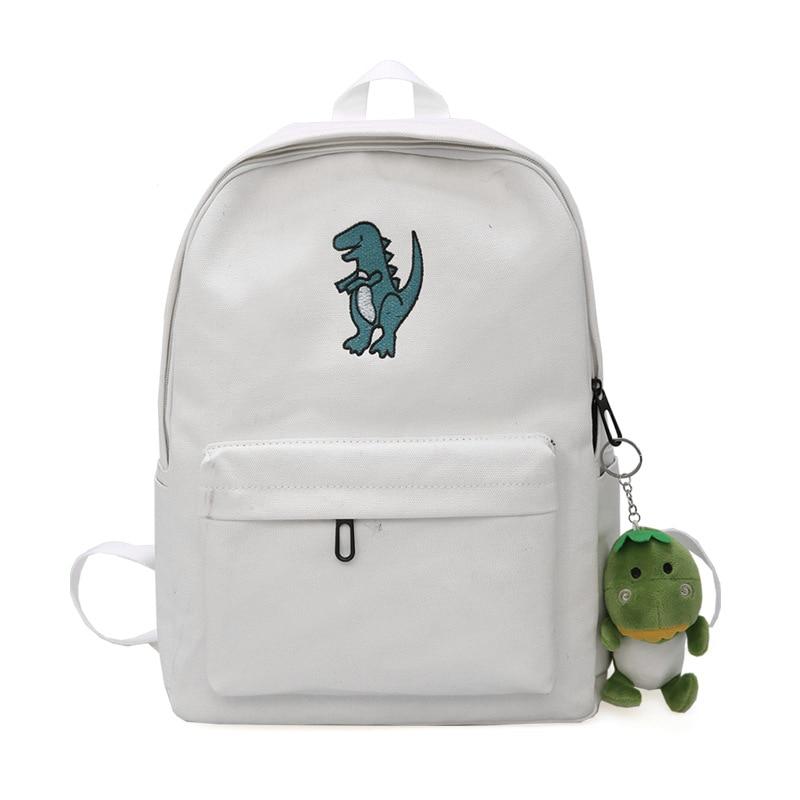 Dinosaur Embroidery Women Backpacks Preppy Fresh School Bag For Teenager Girl Korean Style Travel Daily Backpack Bags Mochila