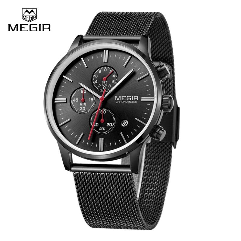 Megir Brand Men's Watch Clock Reloj Hombre Top Luxury Stainless Steel Mesh Strap Sport Quartz Wristwatch Mens Watches Montre megir relogio reloj hombre megir 2008 09
