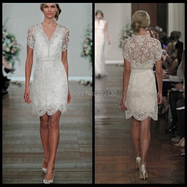 2017 Jenny Packham White Ivory Short Sleeve Wedding Dress Lace V Neck Mariage Knee Length Bridal
