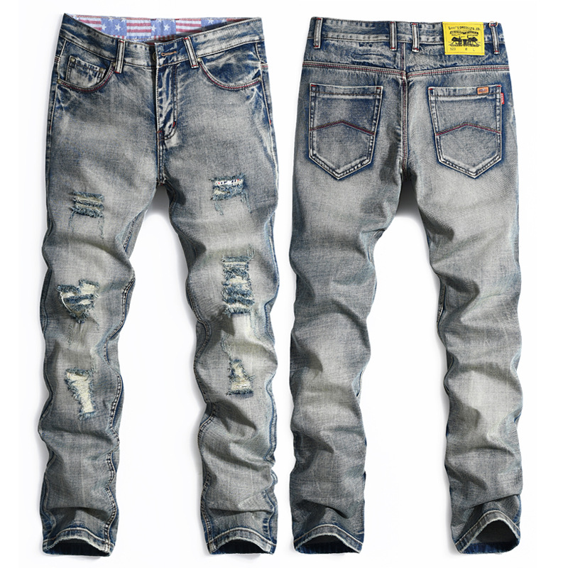 mens fashion ripped jeans street Hip hop stretch jeans slim denim biker jean high quality old color designer jeans high quality ripped mens jeans straight jeans denim biker slim fit jean washed print skull blue jeans hip hop dropshipping pants