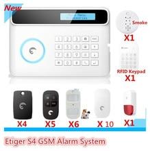 Фотография Big Sale DIY Alarm Etiger S4 wireless GSM Alarm System RFID tag Home Burglar Security Alarm system With  LCD Display App Control