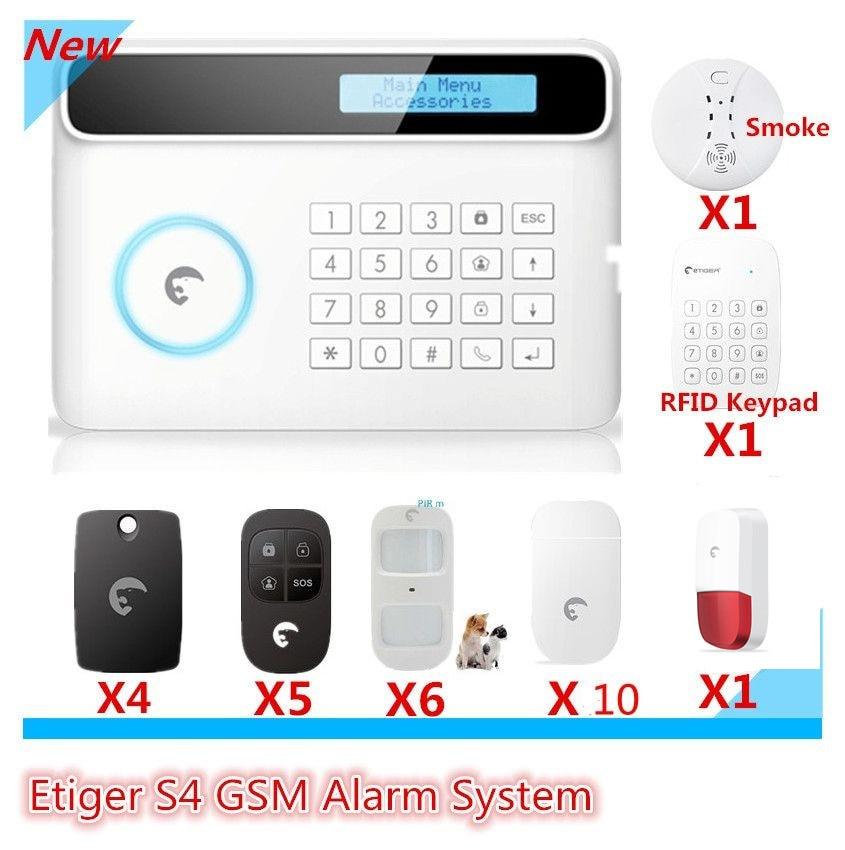 Etiger Brand DIY Alarm Wireless GSM Alarm System Smart Home Burglar Alarm system With LCD Display and RFID tags keypad