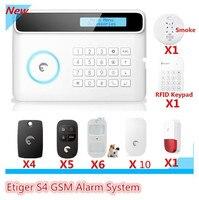 Venta grande DIY Etiger S4 GSM inalámbrico de Alarma del Sistema de Alarma RFID etiqueta de Ladrón del Hogar de Seguridad del sistema de Alarma Con Pantalla LCD de Control de App