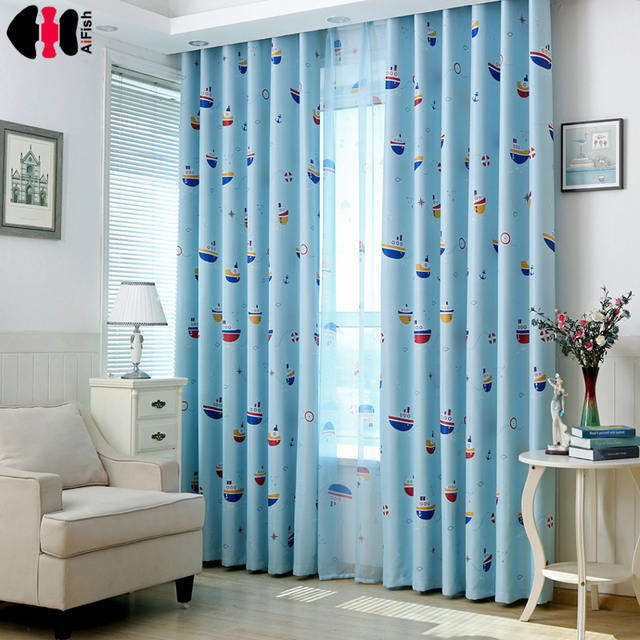 Blue Blackout Curtains Shade Cloth Sheer Tulle For Ship Fishing Voile Fabric Blinds