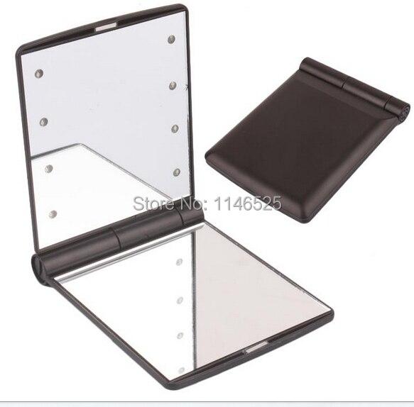 Den Teint Zu Erhalten 8 Led-licht Lampe Make-up Folding Tragbaren Compact Kosmetik Spiegel Schwarz Verhindern Dass Haare Vergrau Werden Und Helfen