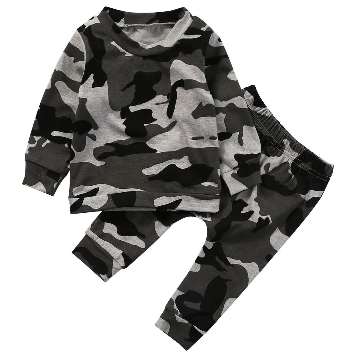 Spring Fashion camouflage kids boys clothes set autumn toddler clothing 2pcs black t shirt+pants boy sports suit leisure clothes