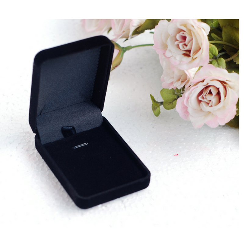 Velvet Jewelry Box Black Square Shape Jewelry Organizer Earring Storage Case High Quality 12pcs Necklace Display Gift Box
