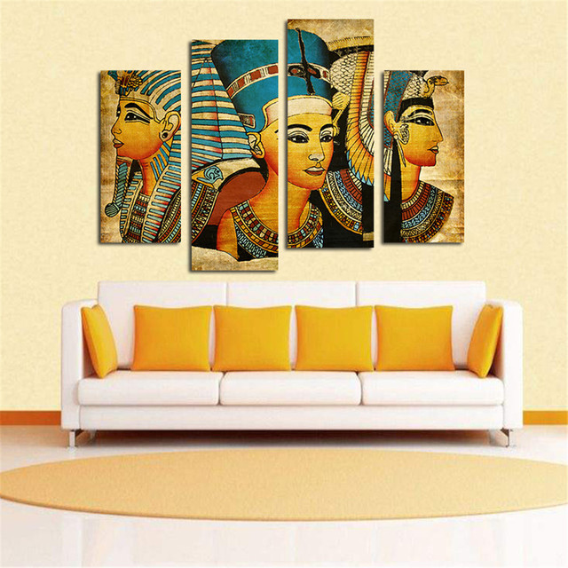 Room Decor Unframed Egyptian Pharaoh On Canvas 4pcs Modern Huge Wall ...