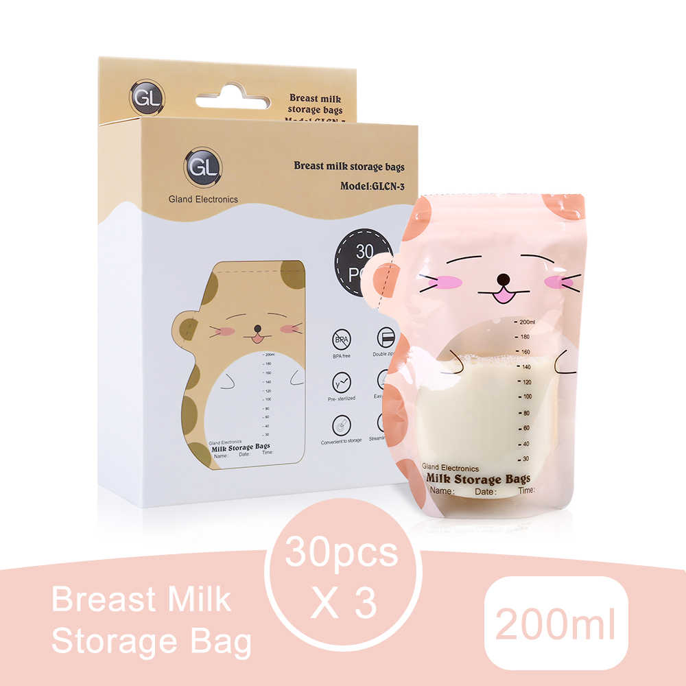 GL 3Pack 90PCS Breast Milk Storage Bag 200ml Double Sealed Packages For Freezing Breast Milk Convenience Baby Food Storage