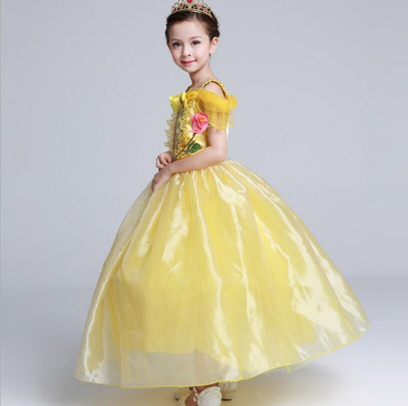 2017 Princess Bell dresses Girls Dress Beauty and The Beast Cosplay Dress Kids Halloween Costumes party dress girl Gift nnw beauty and the beast belle cosplay princess fancy kids costumes grils yellow dresses with sleeve hight quality