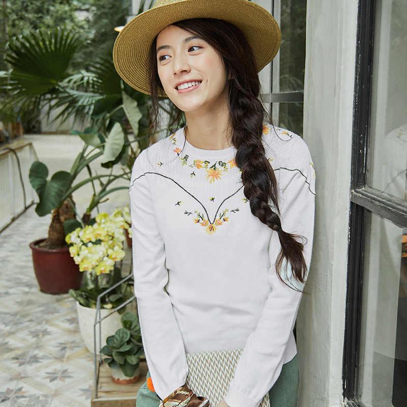 Inman Wanita Musim Semi Musim Gugur Pakaian Pullover Leher Bulat Bordir Pullover Wanita