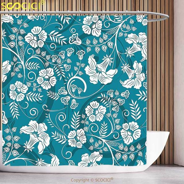 Cool Shower Curtain Flowers Floral Romantic Modern Design With Beams Blossoms Leaves Image Petrol Blue