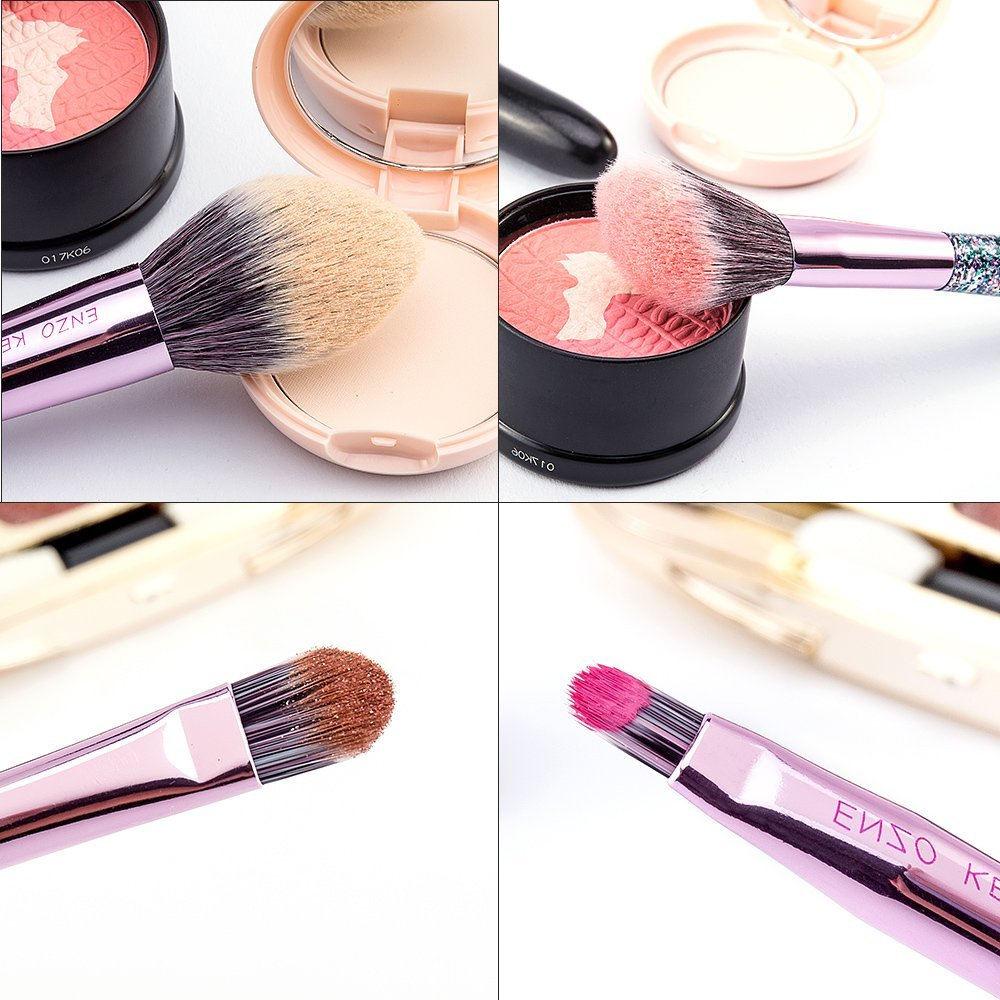 Purple Makeup Brushes ENZO KEN (Drop Shipping) 10Pcs Foundation Blush Brush Powder Blending Eyeshadow Make up Brushes Set 11