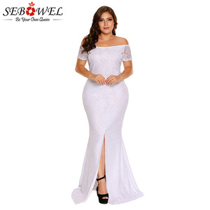 SEBOWEL Plus Size Off Shoulder Lace Gown Slit Party Dresses Woman 2019 Large Big Size XXL XXXL Maxi Long Party Dress for Female