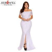 SEBOWEL Plus Size Off Shoulder Lace Gown Slit Party Dresses Woman 2019 Large Big Size XXL XXXL Maxi Long Party Dress for Female