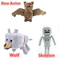 3pcs/lot Minecraft Toys High Quality Minecraft Plush Toys Minecraft Creeper Children's Christmas gifts wolf,skeleton,Bat Ship Fr
