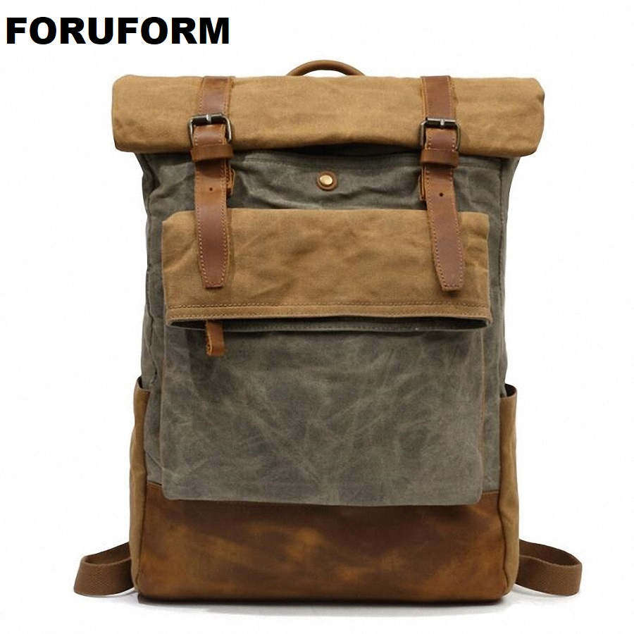 Backpack Canvas Travel Bag Backpacks Fashion Men Waterproof Designer Student Bag Male Laptop Bags High Capacity Backpack LI-2127 men original leather fashion travel university college school book bag designer male backpack daypack student laptop bag 9950
