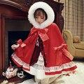Принцесса сладкий лолита пальто Bobon21 оригинальный красная шляпа шапочка рождественские с бантом пальто плащ меховой воротник зимнее пальто C1312