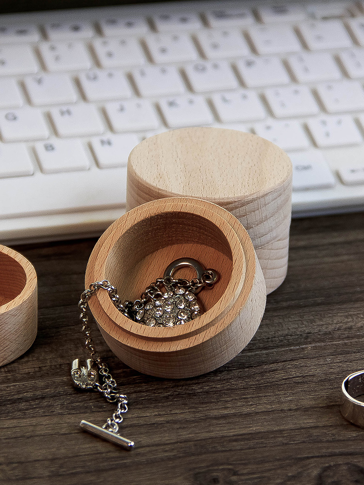 4 8cm circle round wood ring box necklace storage box home decoration gift box earphone storage box in Storage Boxes Bins from Home Garden