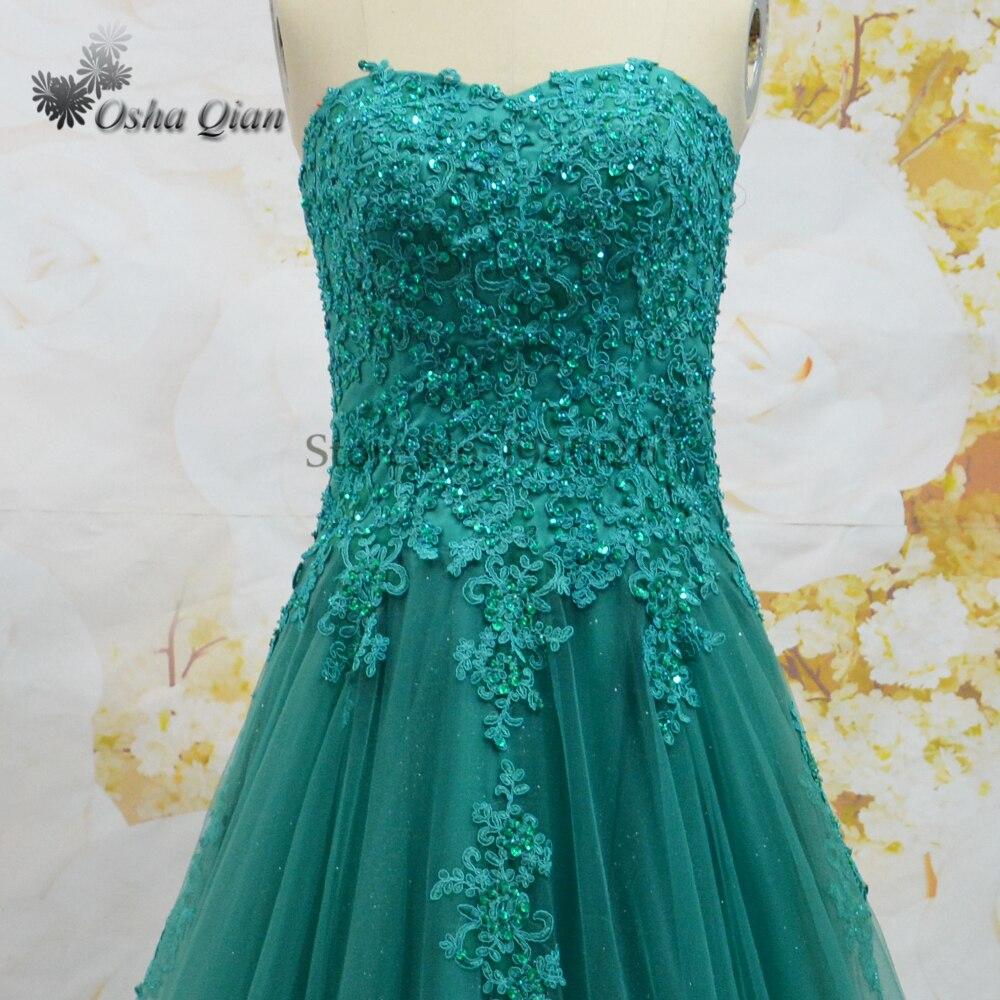 Emerald Green Prom Dress Lace Shiny Tulle Graduation Dresses ...