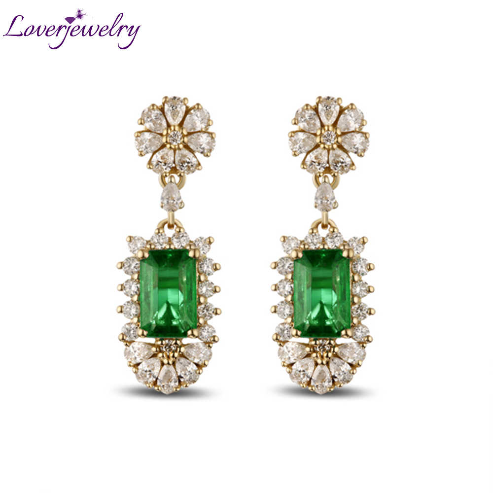6308a4b8bd67 14K Yellow Gold Natural Gemstone Emerald Female Earrings Real Diamond 585  Gold Lady Drop Earrings Women