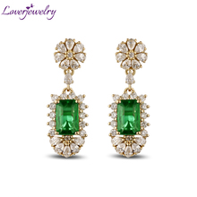 Royal Earrings 14K Yellow Gold Natural Emerald Earrings,Real Diamond Emerald Earrings 585 Pure Gold Best Sale WU267
