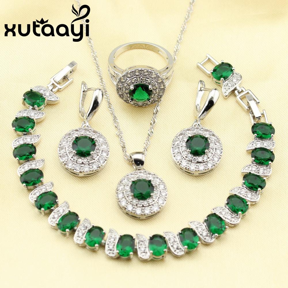 b559393adf92 Imitado XUTAAYI Impresionante Verde Esmeralda 4 UNIDS Sistema de La Joyería  925 Pendientes de Plata de ley Anillo Collar Pendiente Pulsera