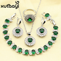 XUTAAYI Stunning Green Imitated Emerald 4PCS Jewelry Set 925 Sterling Silver Earrings Ring Necklace Pendant Bracelet