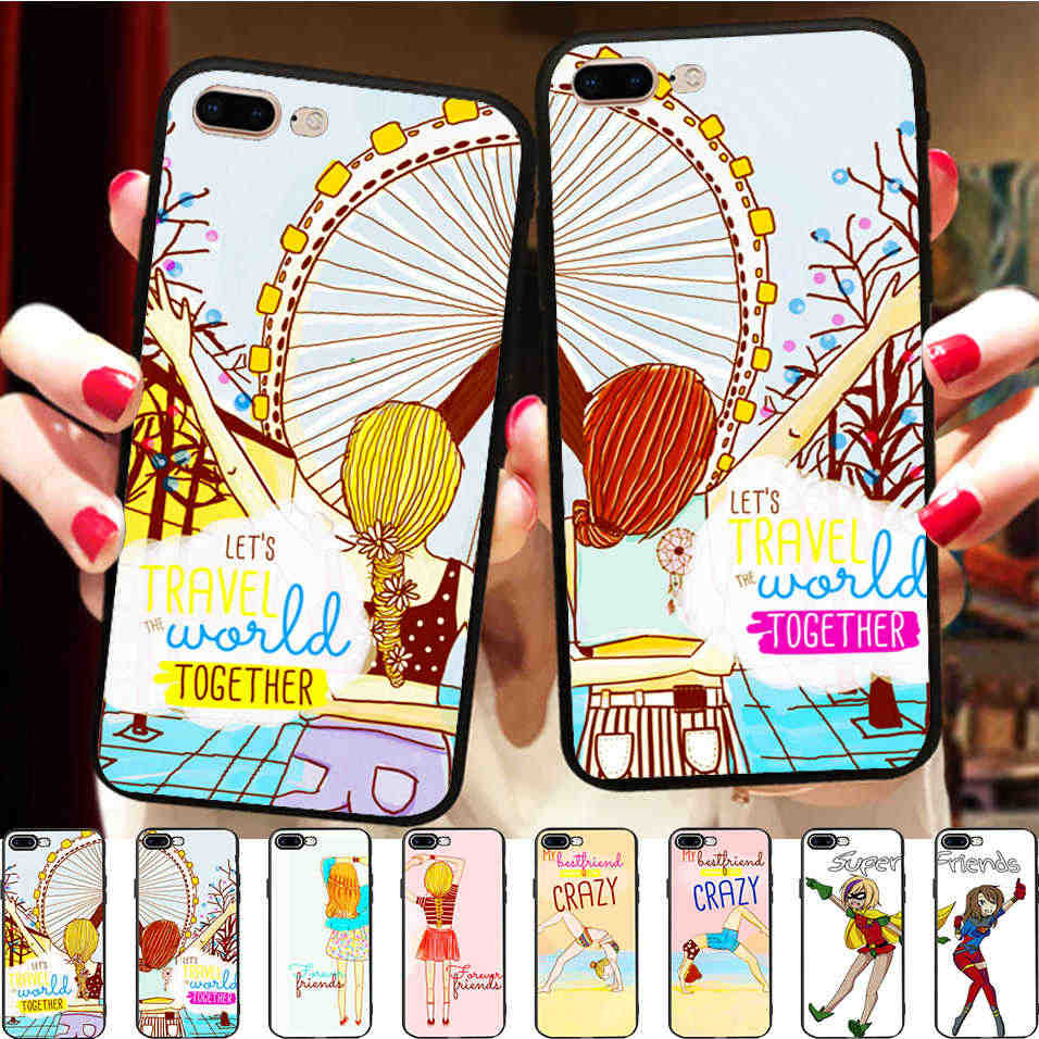 Minason Girls Case for iPhone 6s Case BFF Best Friends Couple Match Cover for iPhone X q50