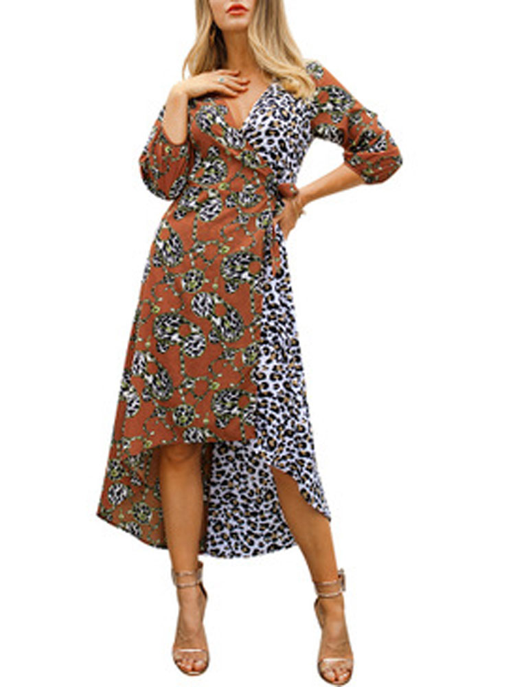HEE GRAND/Новинка 2019 года; сезон весна-лето; платье большого размера с асимметричным v-образным вырезом и рукавами три четверти; женское платье; ...