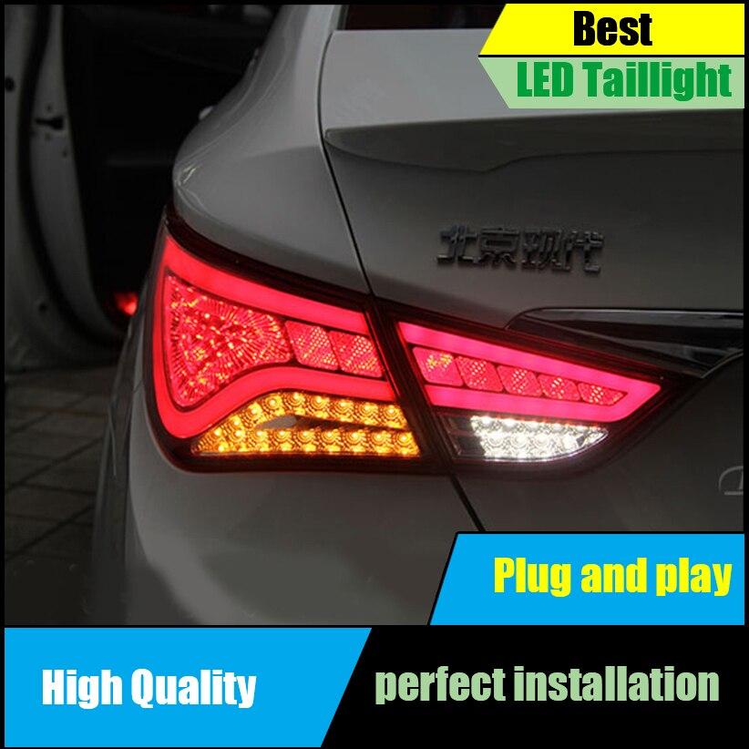 Car Styling Tail Lamp For Hyundai Sonata 8th LED Tail Lights 2011-2014 Rear Lamp Taillight Brake+Park+Signal Light Accessories hireno tail lamp for mercedes benz w220 s280 s320 s350 s500 s60 1998 05 led taillight rear lamp parking brake turn signal light