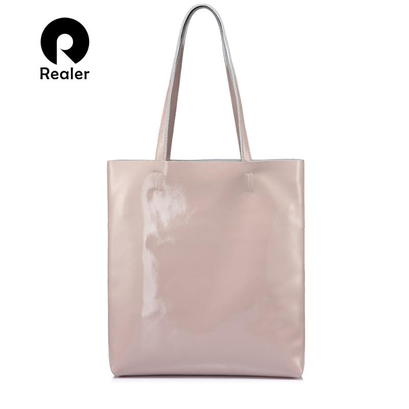 REALER vrouwen schoudertas zacht lakleer vrouwelijke casual totes hoge kwaliteit top handvat tassen voor dames meisjes mode ontwerpen-in Schoudertassen van Bagage & Tassen op  Groep 1